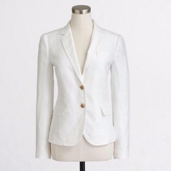 J. Crew Factory Jackets & Blazers - J. Crew White Linen Schoolboy Blazer Sz 12